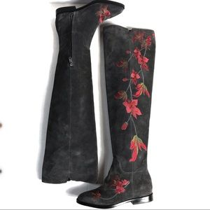 Ash Grey Over the Knee Floral Embroidered Boot